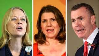 Greens' co-leader Sian Berry, Lib Dems' Jo Swinson and Plaid's Adam Price
