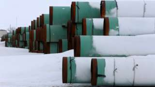 Pipe sections for the Keystone XL pipeline, Gascoyne, ND (file pic)