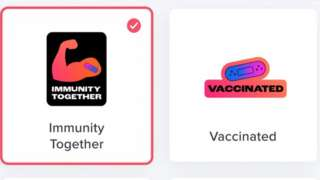 """Vaccination """"stickers"""" on Tinder"""