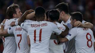 England celebrate victory against Czech Republic in their Euro 2020 qualifier.