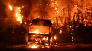 A truck on fire