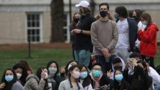 Students at Emory University in Atlanta, GA during President Biden's visit, 21 March 2021