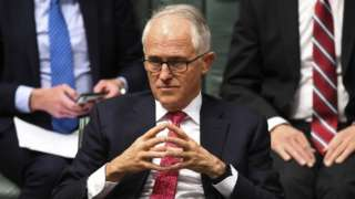 Malcolm Turnbull sits in parliament