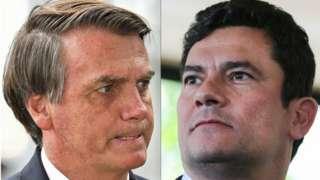 Montagem com fotos de Bolsonaro e Moro, ambos de perfil