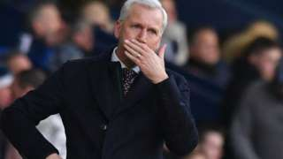 West Brom manager Alan Pardew during the defeat by Huddersfield
