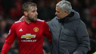 Luke Shaw and Jose Mourinho during Man Utd's win over Bournemouth in December