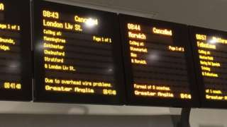 The departure boards at Ipswich Station saying the trains are cancelled