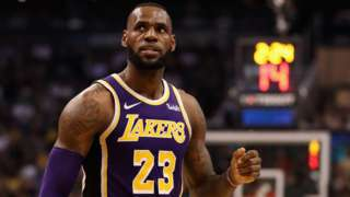 Los Angeles Lakers small forward LeBron James looks on during a game against the Phoenix Suns