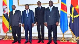 Yoweri Museveni, João Lourenço, Paul Kagame na Felix Tshisekedi baramaze guhura kenshi bavugana ibibazo hagati y'u Rwanda na Uganda