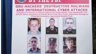 Плакат ФБР с фотографиями объявленных в розыск хакеров, которые, по данным ФБР, работают в ГРУ