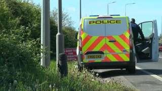 Police van in New Waltham
