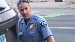 A still image taken from a video shows Minneapolis police officer Derek Chauvin during the arrest of George Floyd