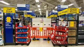 Tesco in Cardiff with aisles blocked off