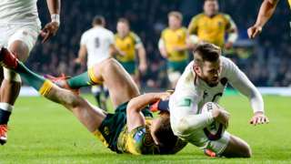 Elliot Daly scores try for England