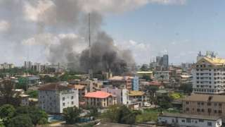 Smoke rises from a prison in Ikoyi neighbourhood of Nigeria's commercial capital Lagos