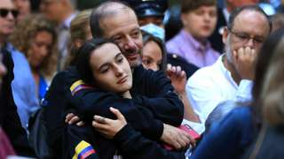 Family members and loved ones of victims attend 9/11 memorial in New York.