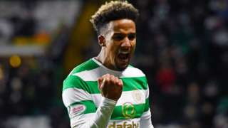 Celtic winger Scott Sinclair celebrates scoring