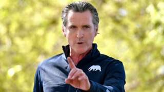 California Governor Gavin Newsom speaks during a visit at The Forty Acres in Delano, California