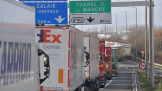 Lorries backed up on the A16 highway between Dunkirk and Calais on 4 March