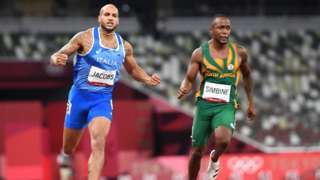 South Africa's Akani Simbine (right) finishing fourth in the men's 100m Olympic final behind winner Lamont Macrcell Jacobs of Italy