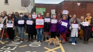Protest outside the centre