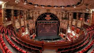 A deserted Coliseum Theatre in London