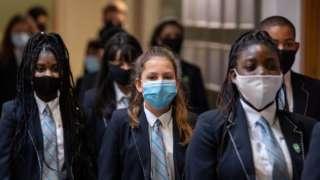 Pupils wearing masks