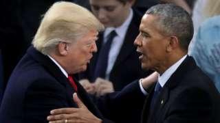 Trump and Obama at Trump's inauguration