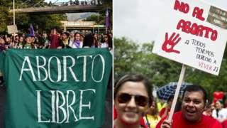 Manifestaciones a favor y en contra del aborto