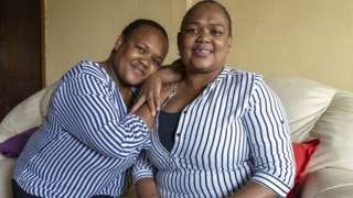 Nomsa Sibaya (L) and her twin Thembi Makhoba
