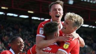 Barnsley celebrate their winner against Blackpool
