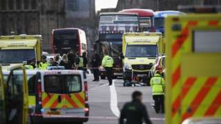 Emergency services vehicles on Westminster Bridge