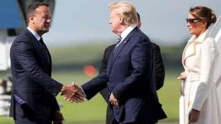 Leo Varadkar welcoming Donald and Melania Trump to Ireland