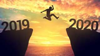 Person jumping between 2019 and 2020 years
