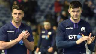 Adam Hastings and Blair Kinghorn applauds Scotland fans after their win