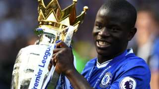 N'Golo Kante lifts the Premier League trophy