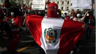 Manifestante no Peru