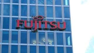 The logo of Fujitsu