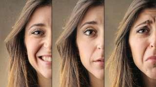 Mujer con distintas expresiones faciales.