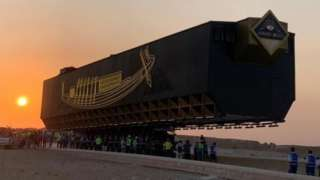 The Great Boat of King Khufu is transported to the Grand Egyptian Museum