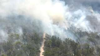 A huge bushfire on Fraser Island