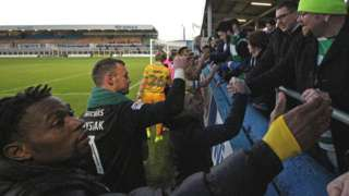 Yeovil players and staff thank fans after their draw at Hartlepool