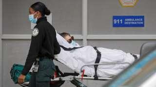 A patient taken into a hospital in Brooklyn