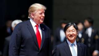 """U.S. President Donald Trump is escorted by Japan""""s Emperor Naruhito during an welcome ceremony at the Imperial Palace in Tokyo, Japan"""