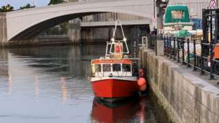 The Nicola Faith fishing boat moored at the quayside in Conwy