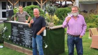 Tintern's Royal George opened its beer garden early on Monday morning