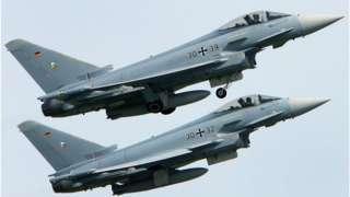 據估計在2035-40年,法國的陣風戰鬥機,德國的颱風,和西班牙的F-18大黃蜂戰鬥機將由新一代飛機替代(圖為德國的颱風戰機)