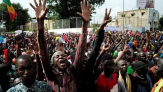 Opposition supporters protest in Mali