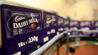 Cadbury's Dairy Milk Chocolate bars move down the production line at the Cadbury's Bournville production plant