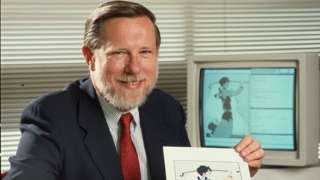 Charles Greschke shows off a drawing from the company's computer software